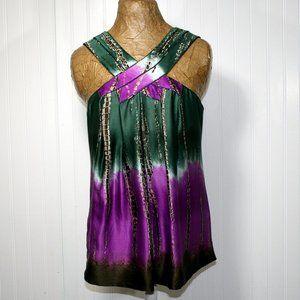 BCBGMAXAZRIA Purple Green Ombre Silk Top Blouse